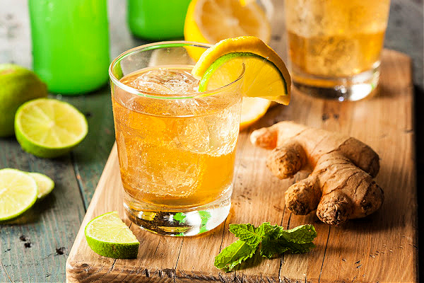 Homemade Ginger Ale in a Glass with Lemon and Lime
