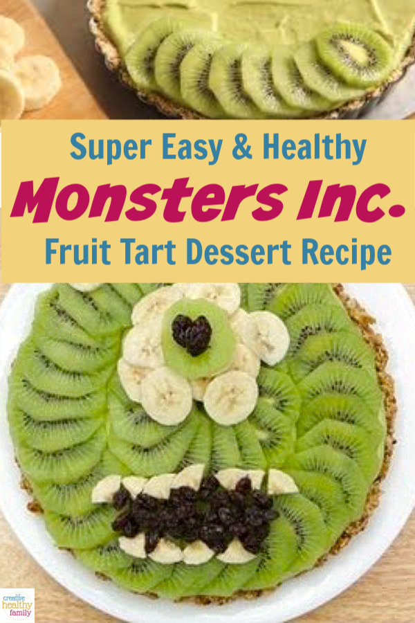 This Monsters Inc Healthy Fruit Tart recipe is dairy free, sugar and egg free! The perfectly healthy dessert for the entire family to enjoy.