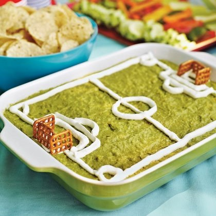 Super Fun Soccer Field Guacamole Dip
