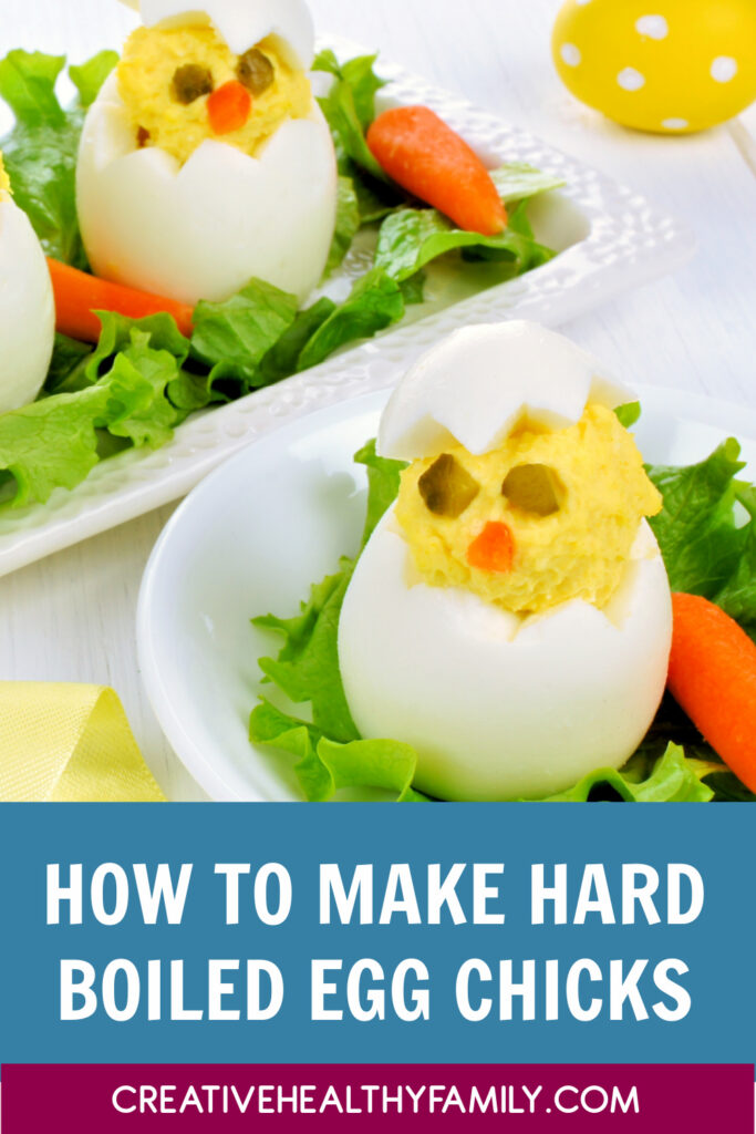 Hard boiled egg chicks are super easy and fun to make! Try adding some veggies and make it a healthy snack too! You can try so many different combinations!