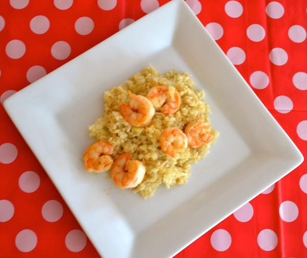 cauliflower risotto with grilled shrimp