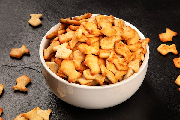 homemade goldfish crackers with two ingredients