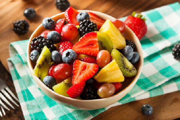 Heallthy Organic Fruit Salad with Berries Pineapple and Grape