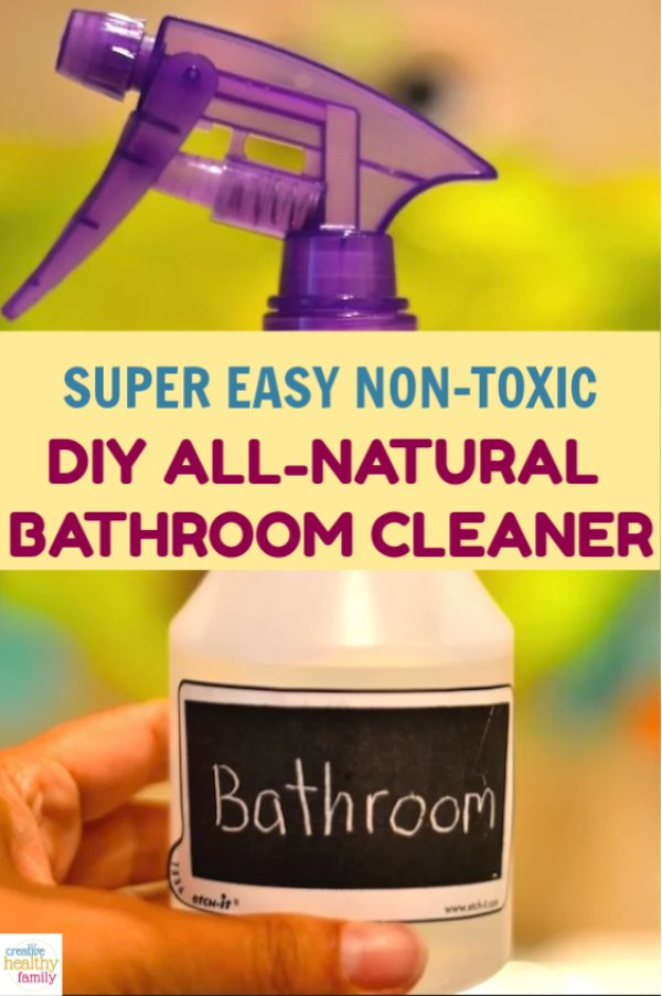 DIY All Natural Bathroom Cleaner. No more chemicals and artificial scents. Clean your bathroom in a natural way with this super easy to make recipe.