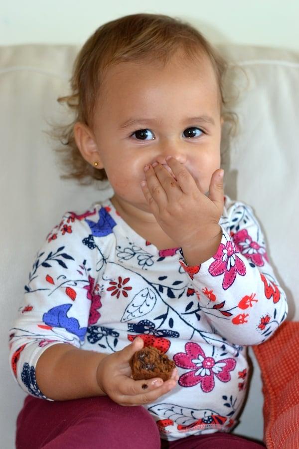 Toddler Eating Sweet Potato Healthy Brownies