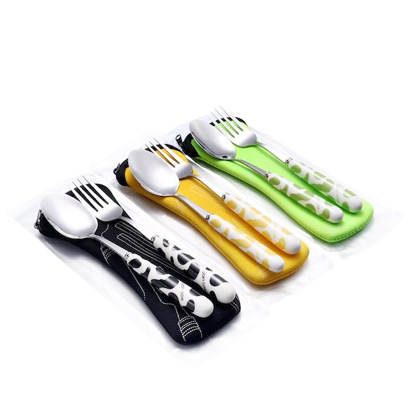 fork and spoon with case for school lunch