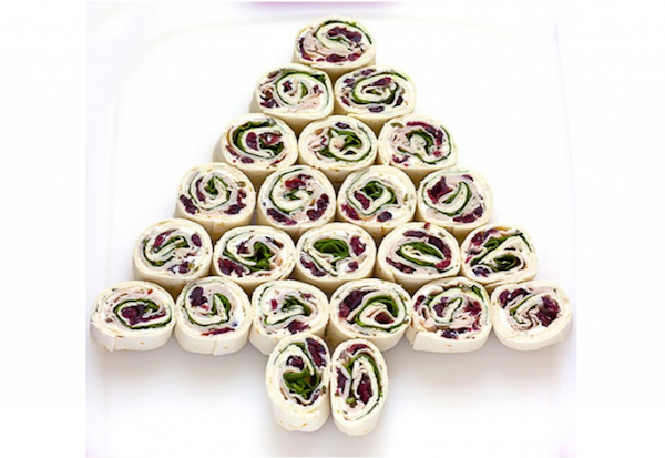 christmas tree turkey cranberry pinwheels