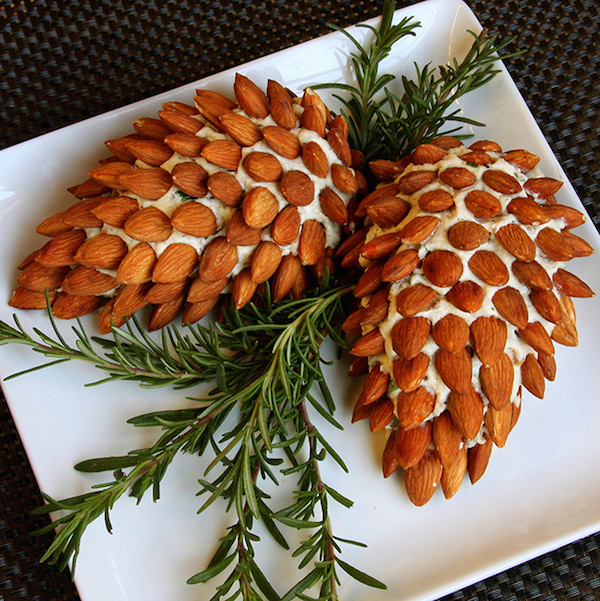 pine cone cheese balls with almonds