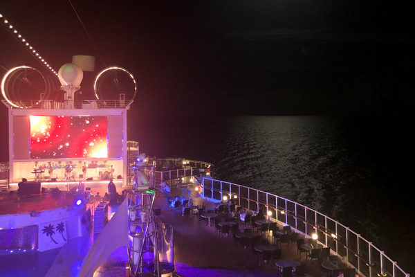 cruise ship at night