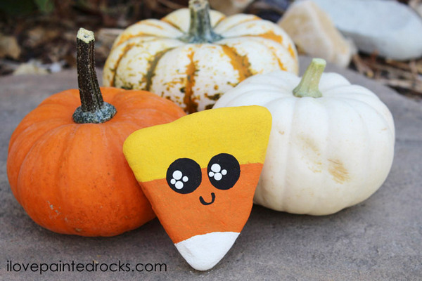 Kawaii Candy Corn Painted Rocks