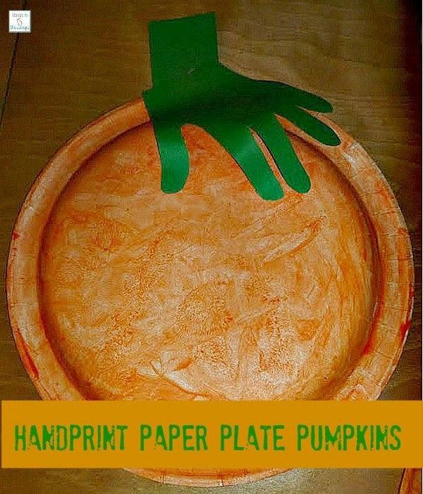 Handprint Paper Plate Pumpkin