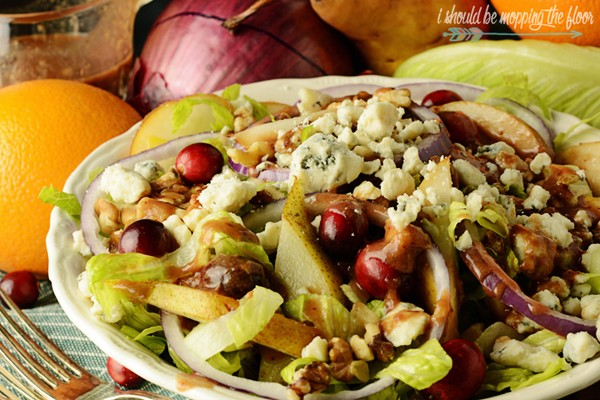 Blue Cheese, Pear, and Walnut Autumn Salad with Cranberry Vinaigrette
