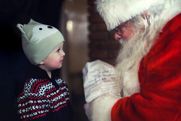 Santa talking to a child