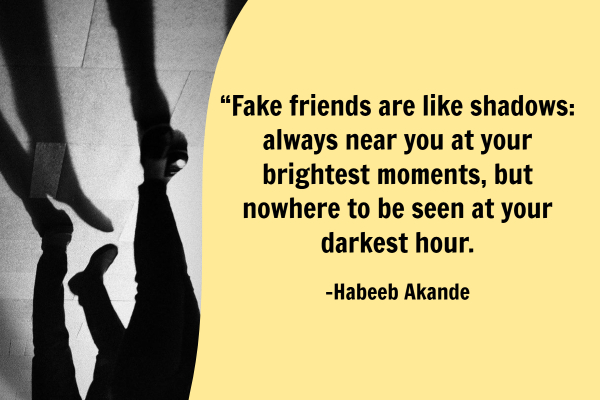 """Fake friends are like shadows, always near you at your brightest moments, but nowhere to be seen at your darkest hour."""