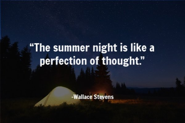 """The summer night is like a perfection of thought."""
