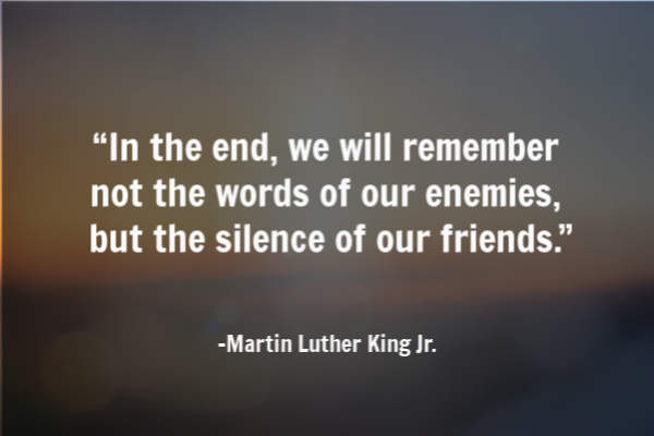 MLK quote speak up for peace and equality