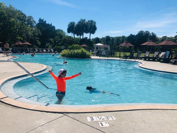 Heated lagoon swimming pool