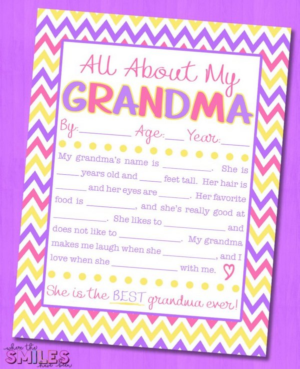 All About My Grandma Interview (Free Printables)