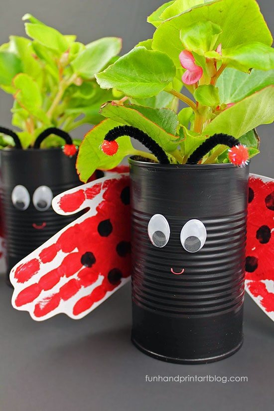 Recycled Ladybug Plant Holder with Handprint Wings