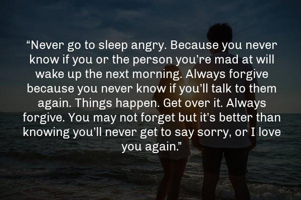 Never go to sleep angry