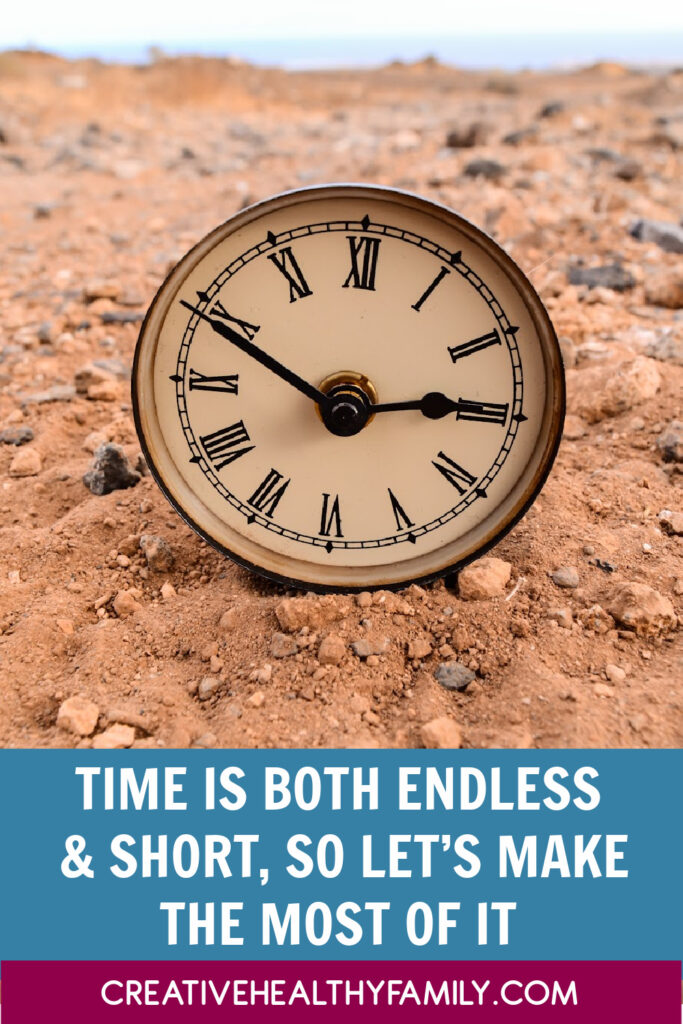 time on a clock in the sand